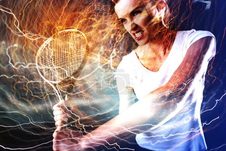 Tennis player with lightnings