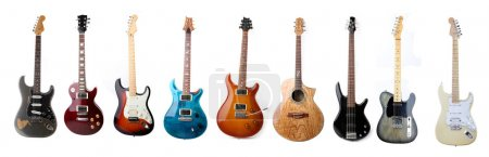 Photo for Set of various electric guitars isolated on white background - Royalty Free Image