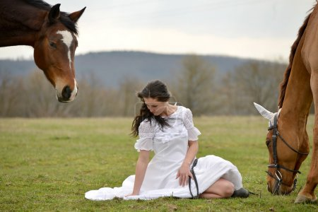 Bride and horses