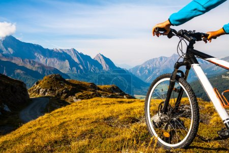 Photo for Mountain bike wheel and sommer alpine landscape - Royalty Free Image