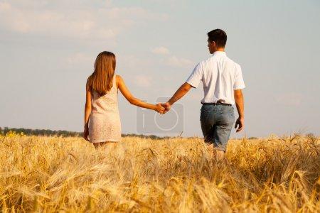 Inlove couple walking through wheat field