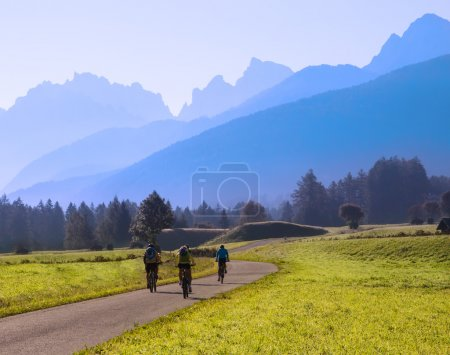 Group of cyclists biking in mountains