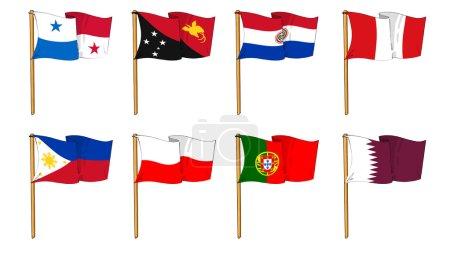 Photo pour Dawings caricaturale de certains des indicateurs plus populaires dans le monde : lettre p & q - image libre de droit