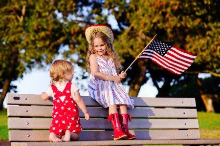 Little girls celebrating 4th july