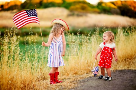 Little waving American flag