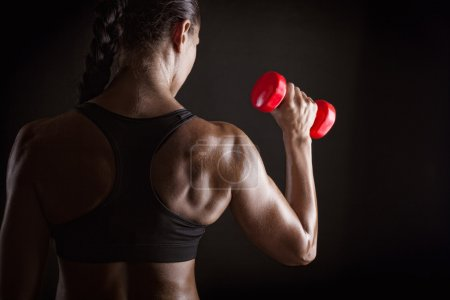 Photo for Fitness woman training with red barbells, closeup photo - Royalty Free Image