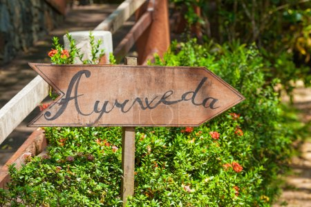 Sign in garden of Ayurveda