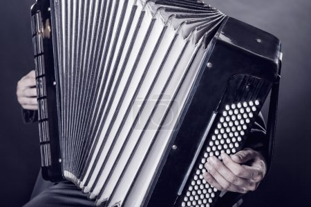 Musician playing accordion