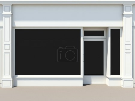 Photo for Nice white shopfront with large windows. White store facade. - Royalty Free Image
