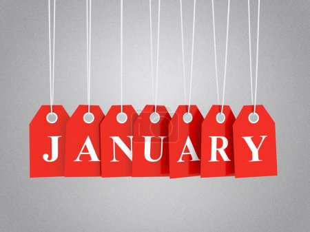January tag on red hanging labels. January promoti...