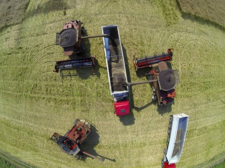 Wheat harvest machines aerial view