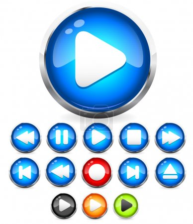 Illustration for Audio button vector icons with transparent eps 10 drop shadows. All the common audio control buttons included: stop , play , eject , rewind and fast forward buttons. A modern EPS 10 transparent clip-art in blue, green, red black and yellow colors - Royalty Free Image