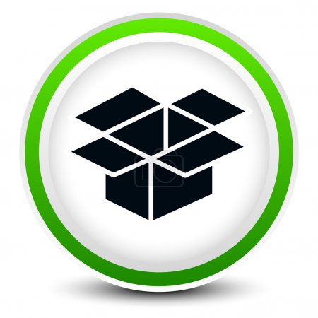 Open box on circle icon for related themes, logistics, packaging