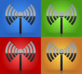 Radio tower radio transmission wireless connection antenna transmitter icons vector elements