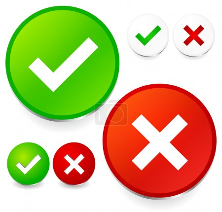 Checkmark and cross set. Correct, wrong, test, quality control,