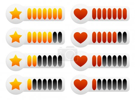 Heart and star rating set
