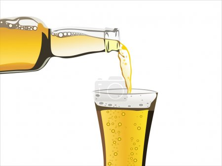 Beer pouring from bottle in to the glass isolated on a white background