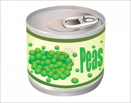 Illustration for Metallic tin can with green peas isolated on white background - Royalty Free Image