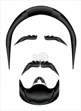 Mustache, beard and hairstyle on a white background