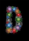 Letter (D) made from colorful in the form of fireworks letters - check my portfolio for other letters