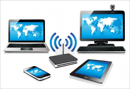 Home wifi network. Internet via router on pc, phone, laptop and tablet pc.