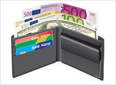 Kožená peněženka, uvnitř, bankovní karty a peníze