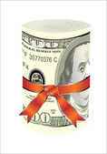One roll from dollars in a red ribbon with a gift bow