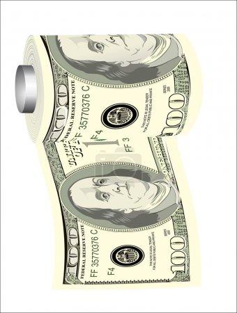 A toilet paper roll of hundred dollar bills on a dispenser, symbolizing the careless spending of money