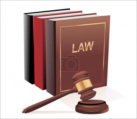 Illustration pour Gavel en bois et livres de loi isolés sur blanc - image libre de droit
