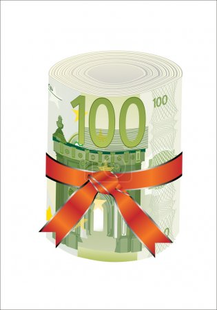 100 euro money in a red ribbon with a gift bow.