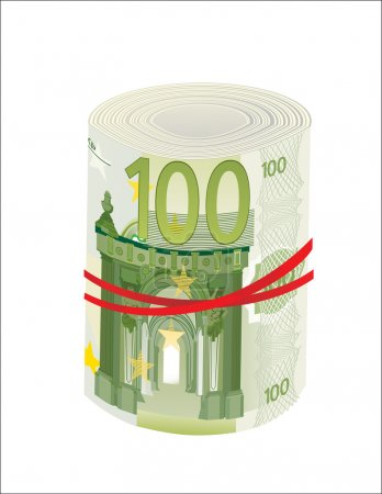 100 Euro rolled up on white background