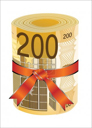 200 euro money in a red ribbon with a gift bow.