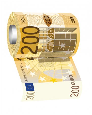 A toilet paper roll of 200 euro banknotes, symbolizing the careless spending of money.