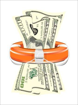 Illustration pour Un gilet de sauvetage rempli d'argent symbolisant l'aide financière - image libre de droit