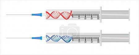 Jeringa con una hebra de ADN - concepto de terapia génica
