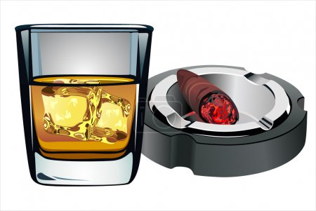 Illustration for Glass of Whiskey and Cigar against white background - Royalty Free Image