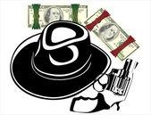 Money in Hat gun on white background
