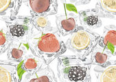 Seamless background with fruits in Ice cubes