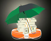 A life preserver filled with money and an umbrella symbolizing financial aid