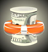 A life preserver filled with money symbolizing financial aid
