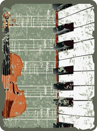 Violin, music notes and piano on old paper sheet background.