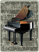 Ancient pattern card with grand piano