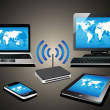 Home wifi network. Internet via router on pc, phon...