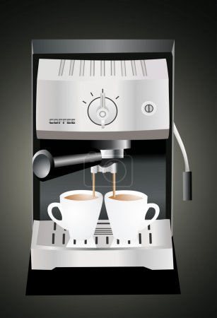 Illustration for Espresso machine pouring espresso into the cups - Royalty Free Image