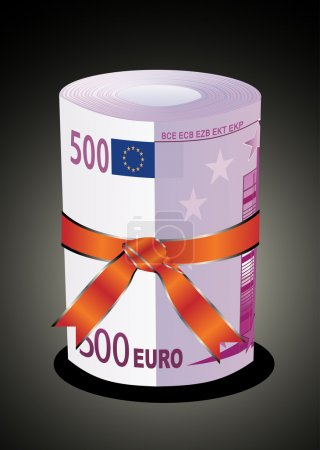 500 euro money in a red ribbon with a gift bow.