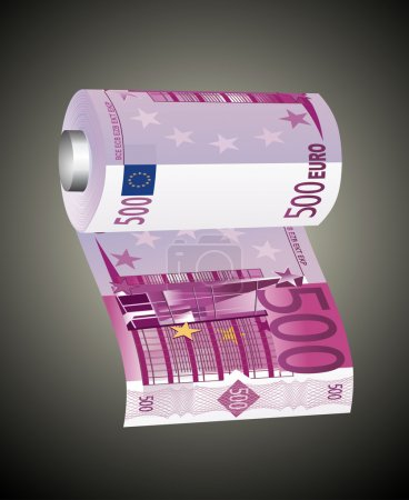A toilet paper roll of 500 euro banknotes, symbolizing the careless spending of money.