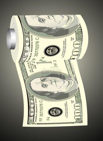un papier toilette rouleau de cent billets d'un dollar sur un distributeur, symbolisant l'imprudente des dépenses d'argent