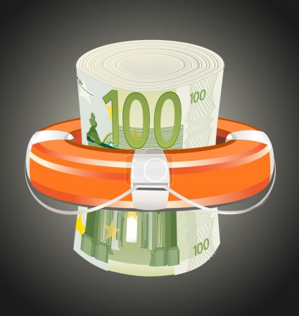 A life preserver filled with money, symbolizing financial aid