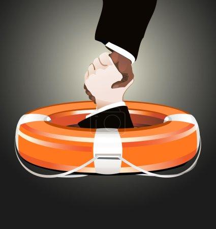 Illustration pour Concept d'entreprise Bouée de vie rouge avec les mains - image libre de droit