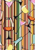 Seamless Pattern of different alcoholic cocktails